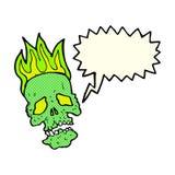 crâne de bande dessinée avec la bulle de la parole Photos stock