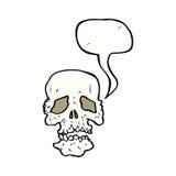 crâne de bande dessinée avec la bulle de la parole Images stock