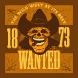 Crâne de bandit avec le chapeau de cowboy et le cigare Photos libres de droits