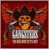 Crâne de bandit avec le chapeau et les pistolets de cowboy Photographie stock