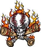 Crâne de base-ball de dessin animé avec le vecteur flamboyant de 'bat' Photo stock