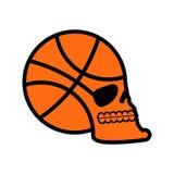 Crâne de basket-ball emblème de supporters tête de squelette de boule Symbole illustration libre de droits