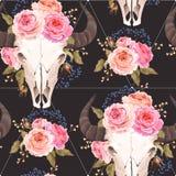 Crâne de Buffalo décoré des fleurs sans couture Image stock