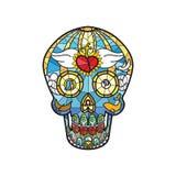 Crâne de Calavera de Mexicain dans le thème en verre souillé illustration de vecteur