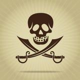 Crâne de cru avec la silhouette croisée d'épées Images stock