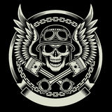 Crâne de cycliste de vintage avec l'emblème d'ailes et de pistons Photos stock