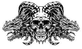 Crâne de démon avec des dragons illustration de vecteur