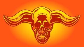 Crâne de démon d'apocalypse d'enfer avec les klaxons à la hausse Illustration de vecteur Photographie stock