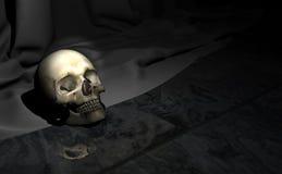 crâne de 3d Halloween sur le plancher de marbre avec le fond de rideau Photos stock