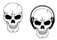 Crâne de danger dans des écouteurs illustration stock
