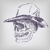 Crâne de dessin avec le chapeau de cowboy Image libre de droits