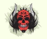 Crâne de diable rouge avec des klaxons et des cheveux illustration libre de droits