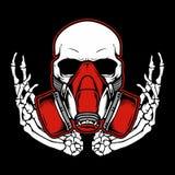 Crâne de graffiti avec le vecteur de dessin de main de masque de gaz photographie stock libre de droits