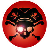 Crâne de Jolly Roger de symbole de pirate Images stock