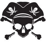 Crâne de Jolly Roger de symbole de pirate Photographie stock libre de droits