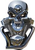 Crâne de metall de vecteur avec l'engine photos stock