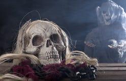 Crâne de moissonneuse sinistre photo stock