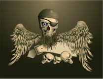 Crâne de piratage avec des ailes Image libre de droits
