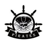 Crâne de pirate avec la barre Logo Design Vector Illustration de cache et de bateau illustration de vecteur