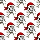 Crâne de pirate avec le modèle sans couture d'os croisés illustration stock