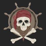 Crâne de pirate d'image avec une barbe Photo stock