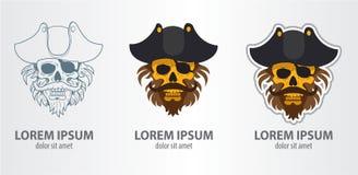 Crâne de pirate de logo Photographie stock