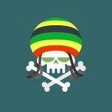 Crâne de Rasta Intoxiqué de crâne avec des dreadlocks et des os Morts de d illustration libre de droits
