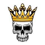 Crâne de roi dans la couronne royale d'or illustration de vecteur