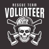 Crâne de sapeur-pompier dans le casque avec le volontaire des textes illustration libre de droits