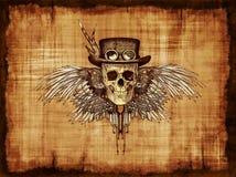 Crâne de Steampunk sur le parchemin Photographie stock