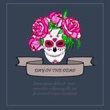 Crâne de sucre avec le calibre rose de roses Image libre de droits
