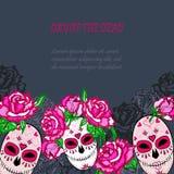 Crâne de sucre avec le calibre rose de roses Photographie stock