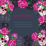 Crâne de sucre avec le calibre rose de roses Photographie stock libre de droits
