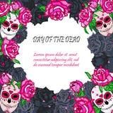 Crâne de sucre avec le calibre rose de roses Images libres de droits