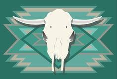 Crâne de vache avec de turquoise le fond 1 vers le sud-ouest illustration libre de droits