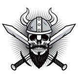 Crâne de Viking Warrior avec l'illustration croisée de vecteur d'épées Images stock