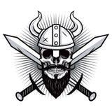 Crâne de Viking Warrior avec le vecteur croisé d'épées Images stock