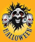Crâne de zombi de Halloween avec des yeux venant conception Images stock