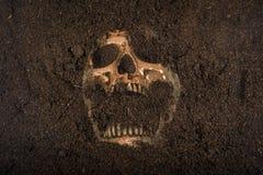 Crâne enterré dans la terre photo stock
