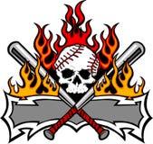 Crâne et 'bat' de base-ball du base-ball flambant le descripteur Images stock