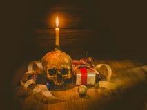 Crâne et cadeau toujours de la vie Images libres de droits