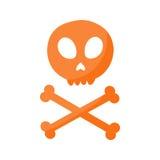 Crâne et icône plate d'os croisés Photographie stock