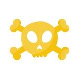 Crâne et icône plate d'os croisés Photographie stock libre de droits