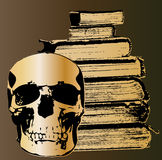 Crâne et livres Images libres de droits