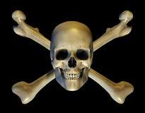 Crâne et os croisés - comprend le chemin de découpage Images libres de droits