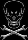 Crâne et os croisés de matériel Images libres de droits