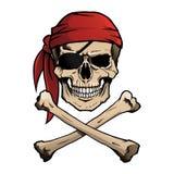 Crâne et os croisés de pirate de Jolly Roger Photo libre de droits
