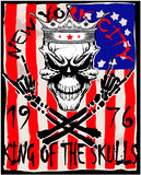 Crâne et os croisés/marque de l'avertissement de danger/des dessins de T-shirt/d'illustration superbe de crâne Photo stock