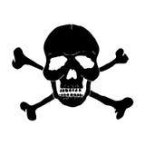 Crâne et os de noir sur un fond blanc Photos stock