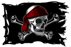 Crâne et os sur un drapeau de pirate illustration de vecteur